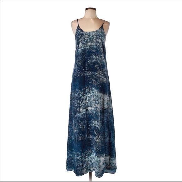 Anthropologie Dresses & Skirts - Anthro Partimi 100% silk Blue Galaxy Maxi Dress 4